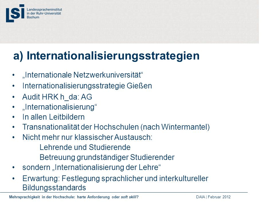 a) Internationalisierungsstrategien