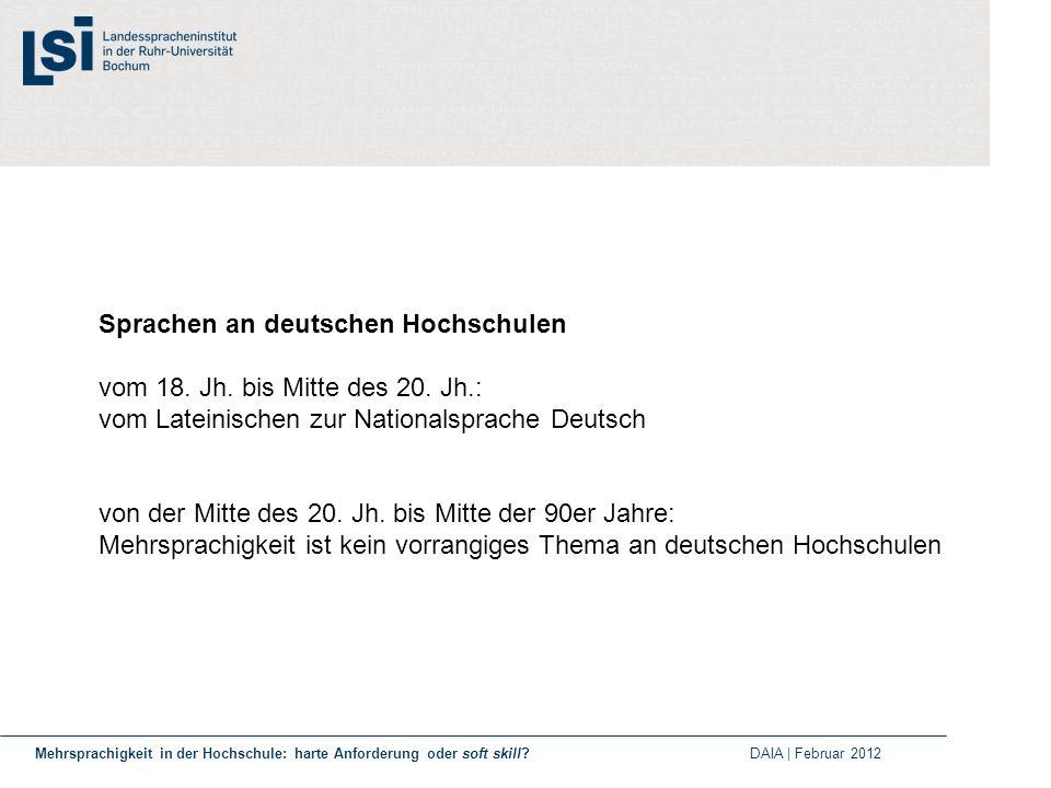 Sprachen an deutschen Hochschulen vom 18. Jh. bis Mitte des 20. Jh.: