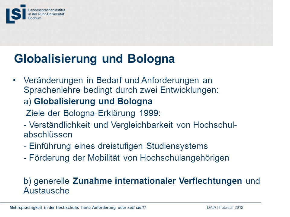 Globalisierung und Bologna