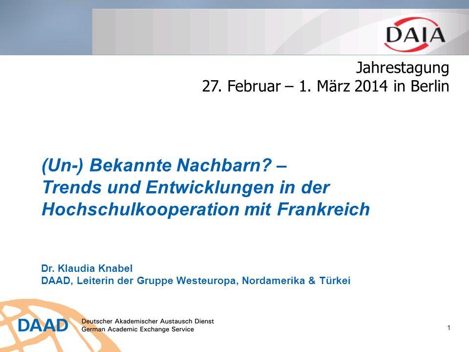 Jahrestagung 27. Februar – 1. März 2014 in Berlin. (Un-) Bekannte Nachbarn – Trends und Entwicklungen in der Hochschulkooperation mit Frankreich.