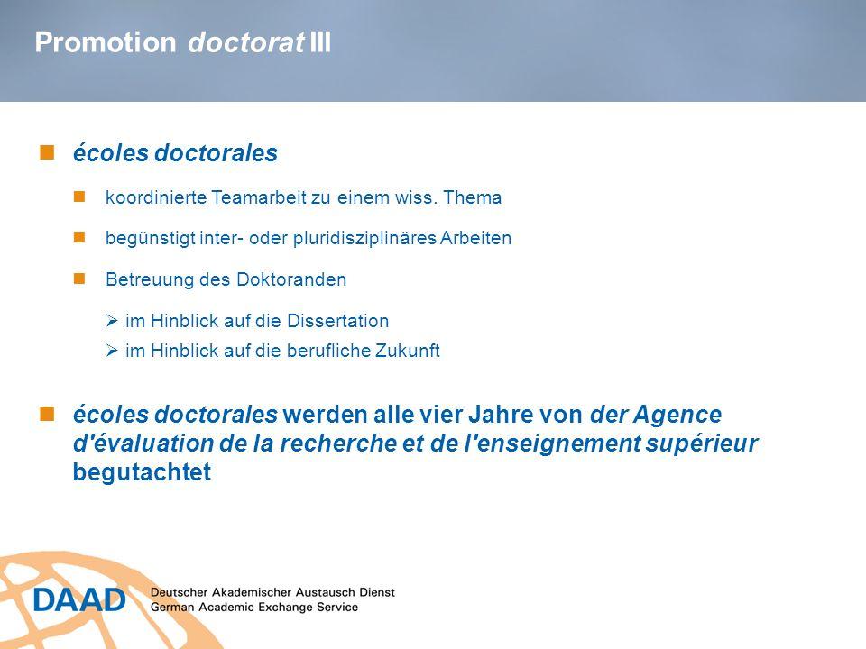 Promotion doctorat III