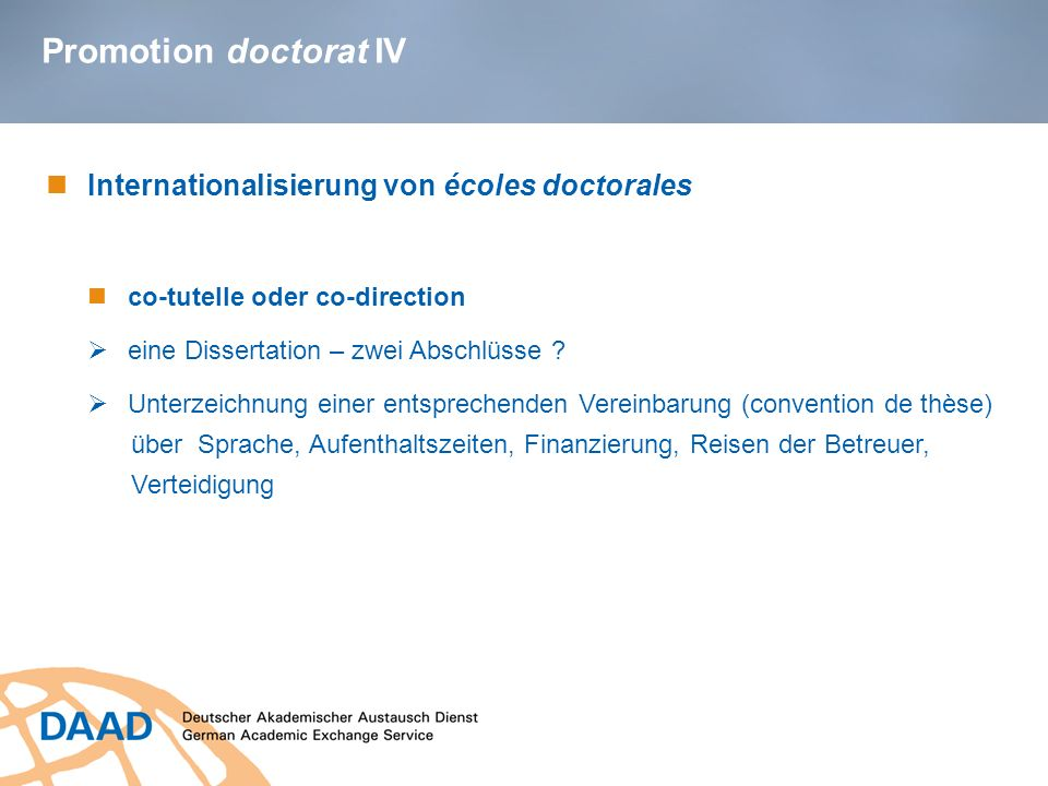 Promotion doctorat IV Internationalisierung von écoles doctorales