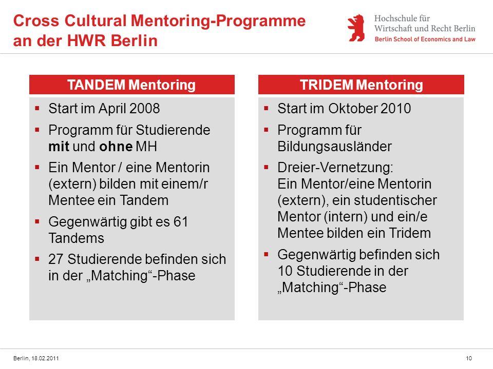 Cross Cultural Mentoring-Programme an der HWR Berlin