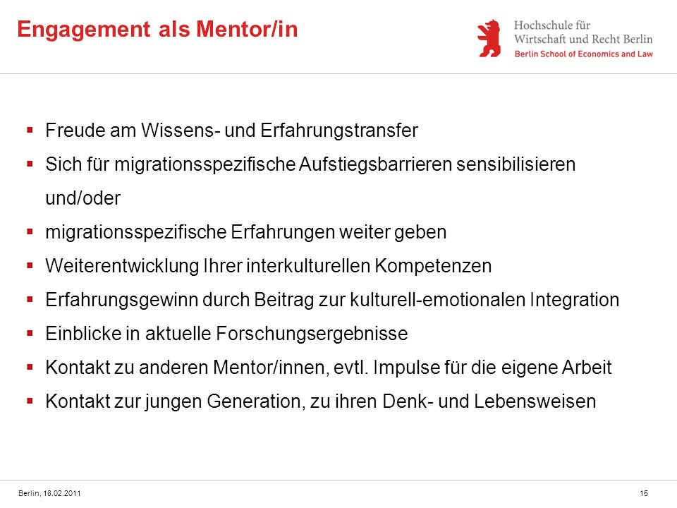 Engagement als Mentor/in