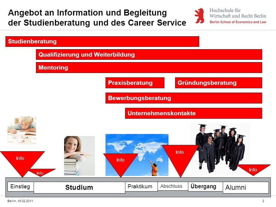 31.03.2017 Angebot an Information und Begleitung der Studienberatung und des Career Service. Studienberatung.