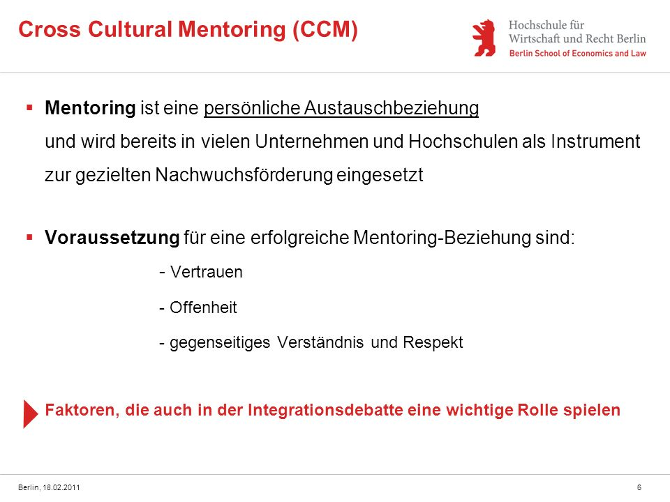 Cross Cultural Mentoring (CCM)