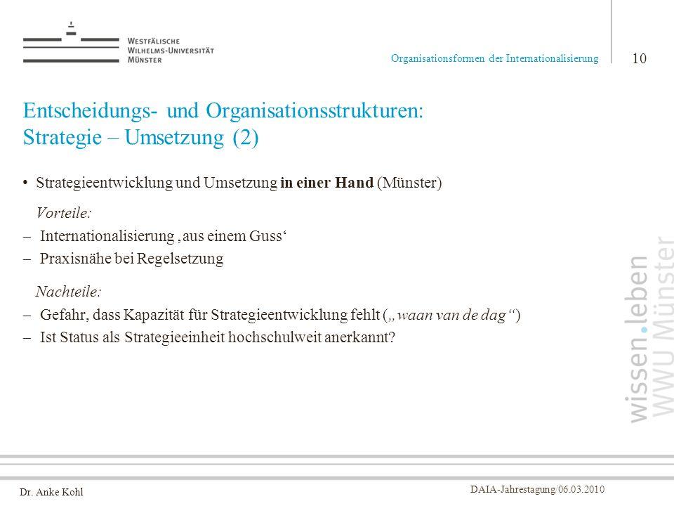 Entscheidungs- und Organisationsstrukturen: Strategie – Umsetzung (2)