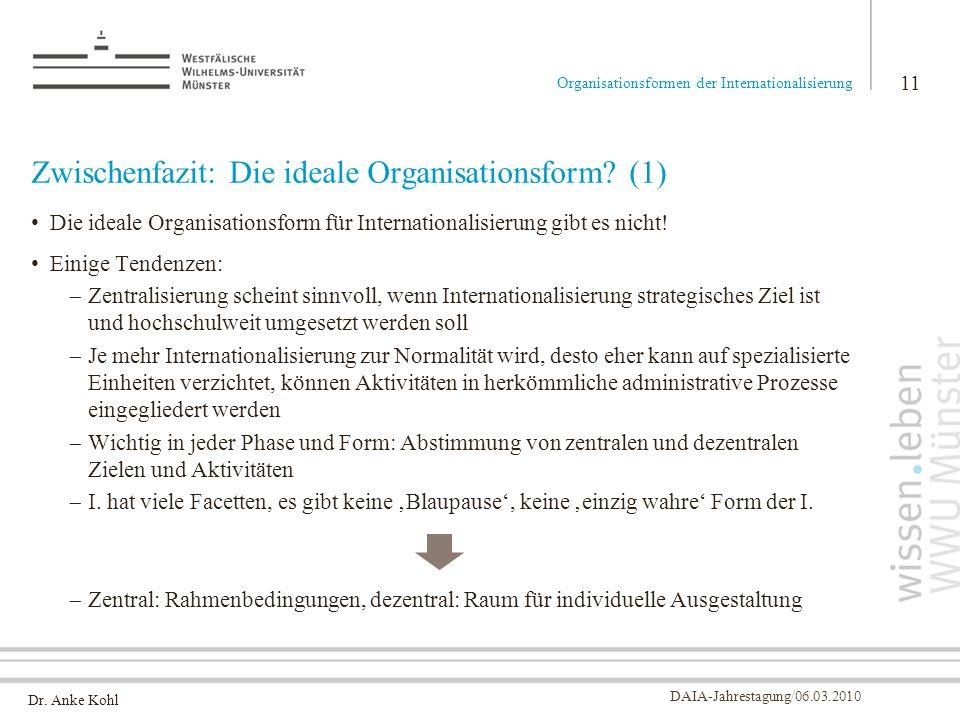 Zwischenfazit: Die ideale Organisationsform (1)