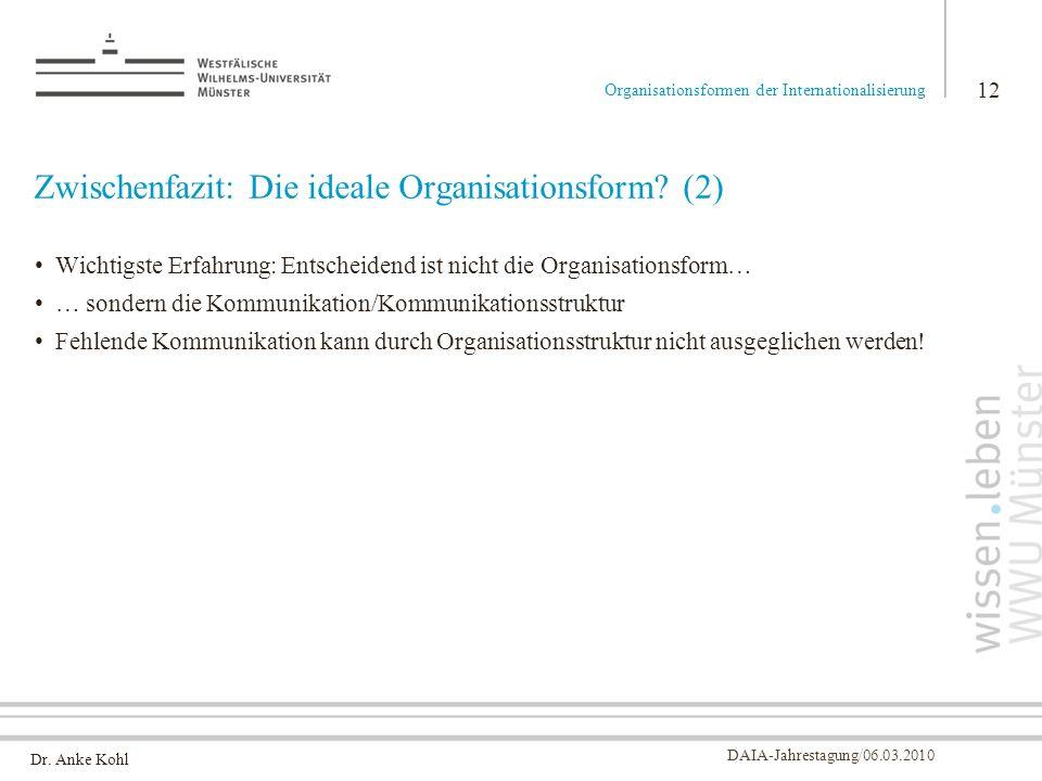 Zwischenfazit: Die ideale Organisationsform (2)