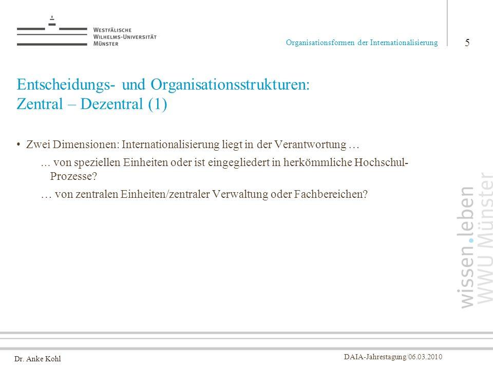Entscheidungs- und Organisationsstrukturen: Zentral – Dezentral (1)