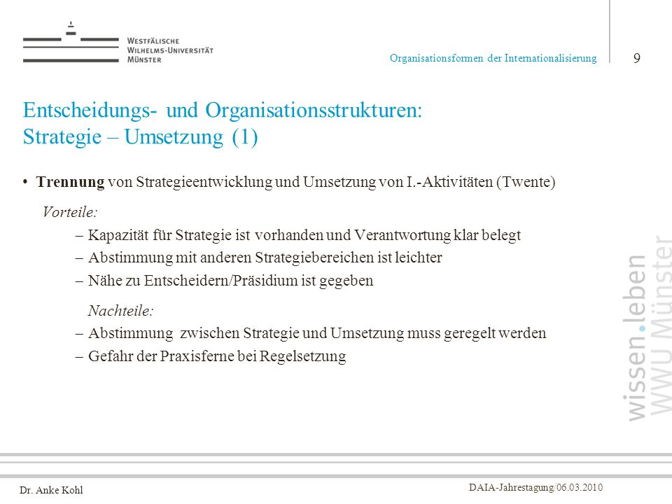 Entscheidungs- und Organisationsstrukturen: Strategie – Umsetzung (1)