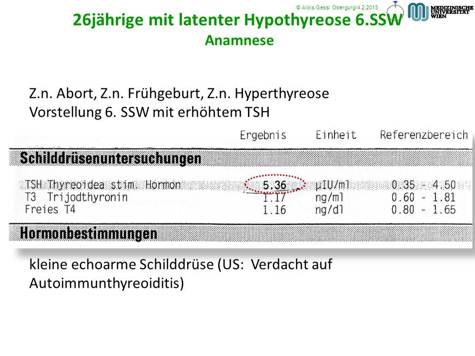 26jährige mit latenter Hypothyreose 6.SSW Anamnese