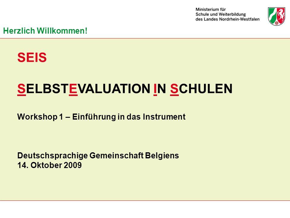 SELBSTEVALUATION IN SCHULEN Workshop 1 – Einführung in das Instrument