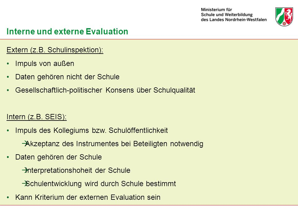 Interne und externe Evaluation