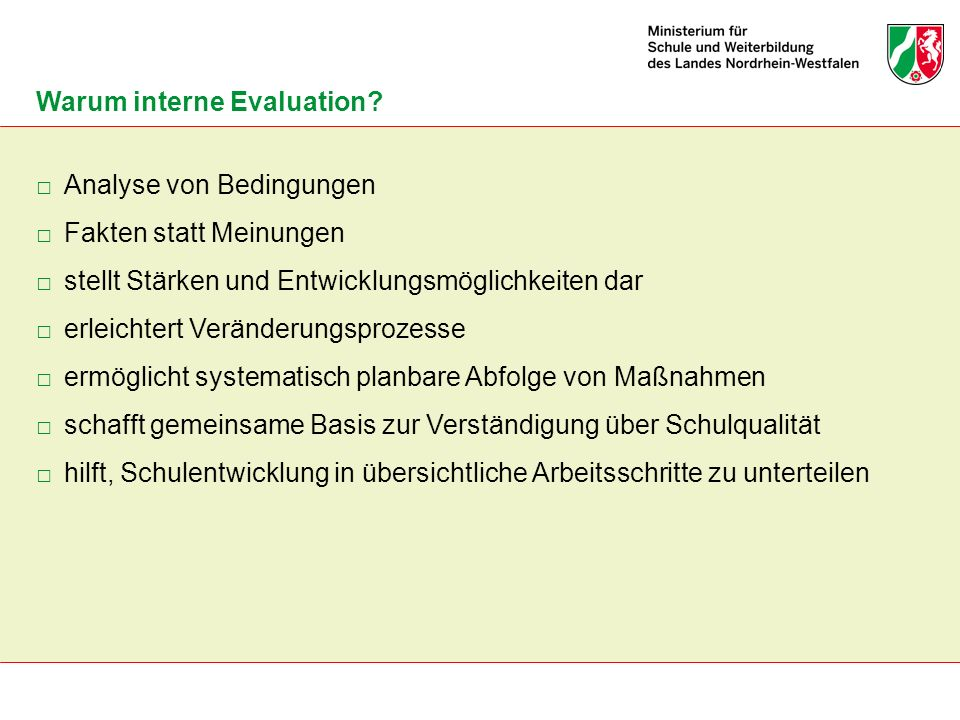 Warum interne Evaluation