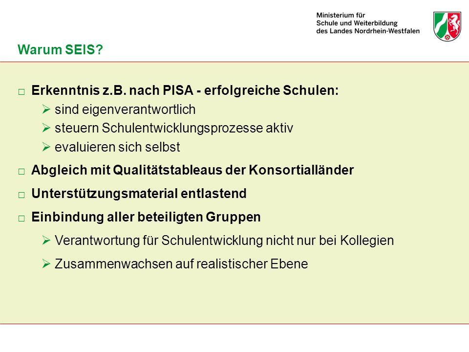 Warum SEIS Erkenntnis z.B. nach PISA - erfolgreiche Schulen: sind eigenverantwortlich. steuern Schulentwicklungsprozesse aktiv.
