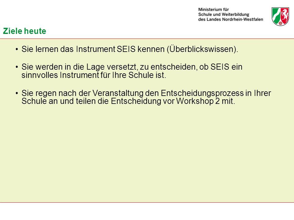 Ziele heute Sie lernen das Instrument SEIS kennen (Überblickswissen).