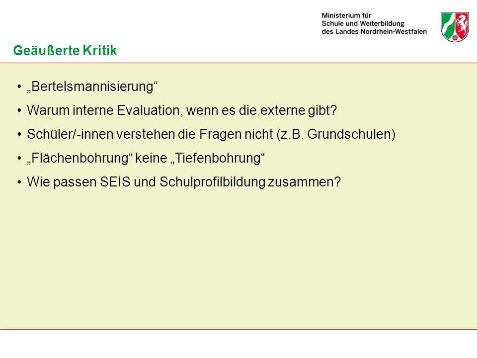 """Geäußerte Kritik """"Bertelsmannisierung Warum interne Evaluation, wenn es die externe gibt"""