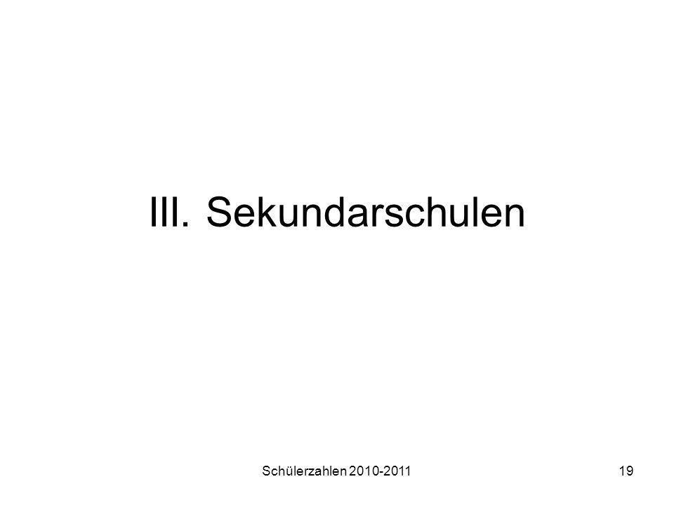 III. Sekundarschulen Schülerzahlen 2010-2011