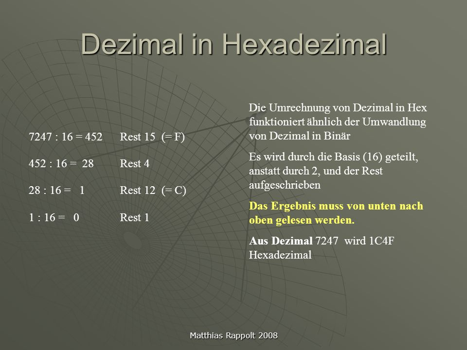Dezimal in Hexadezimal