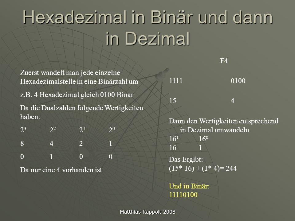 Hexadezimal in Binär und dann in Dezimal