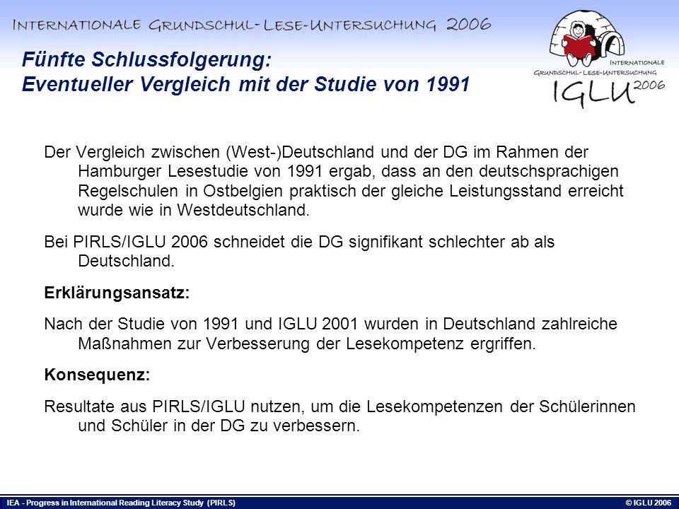 Fünfte Schlussfolgerung: Eventueller Vergleich mit der Studie von 1991