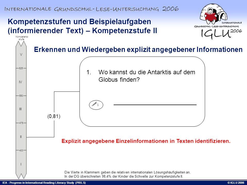 Kompetenzstufen und Beispielaufgaben (informierender Text) – Kompetenzstufe II
