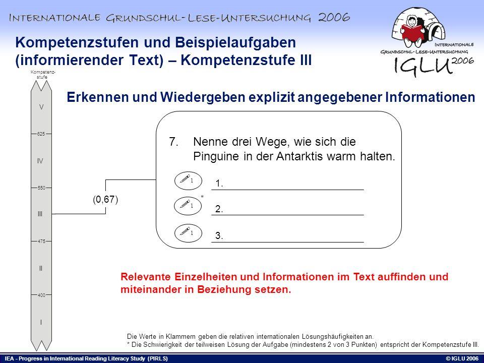 Kompetenzstufen und Beispielaufgaben (informierender Text) – Kompetenzstufe III