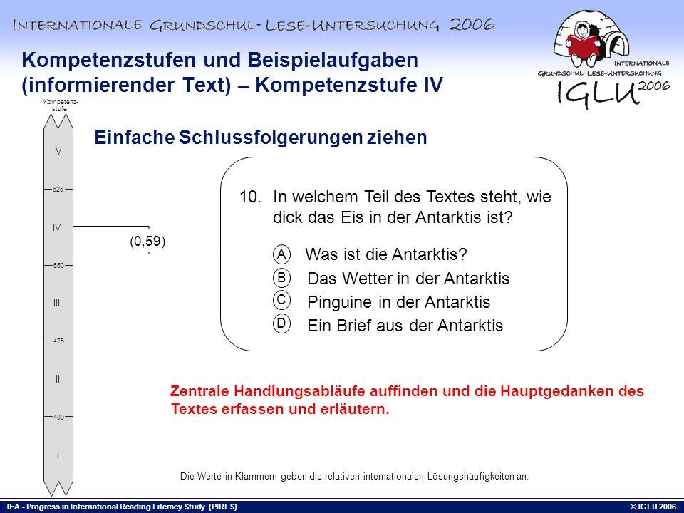 Kompetenzstufen und Beispielaufgaben (informierender Text) – Kompetenzstufe IV