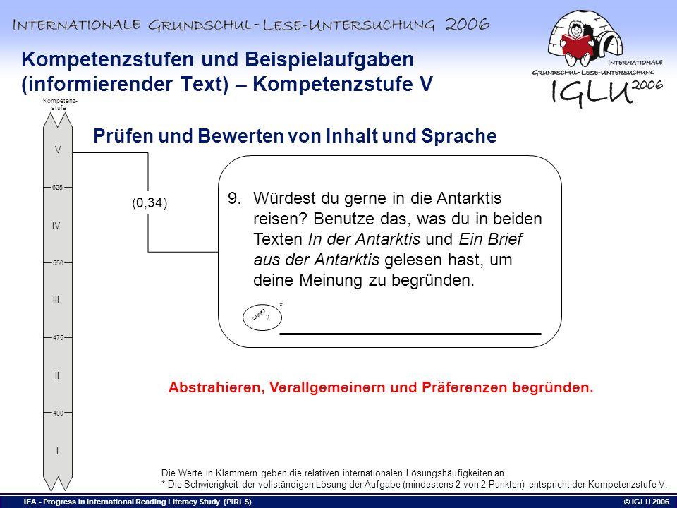 Kompetenzstufen und Beispielaufgaben (informierender Text) – Kompetenzstufe V