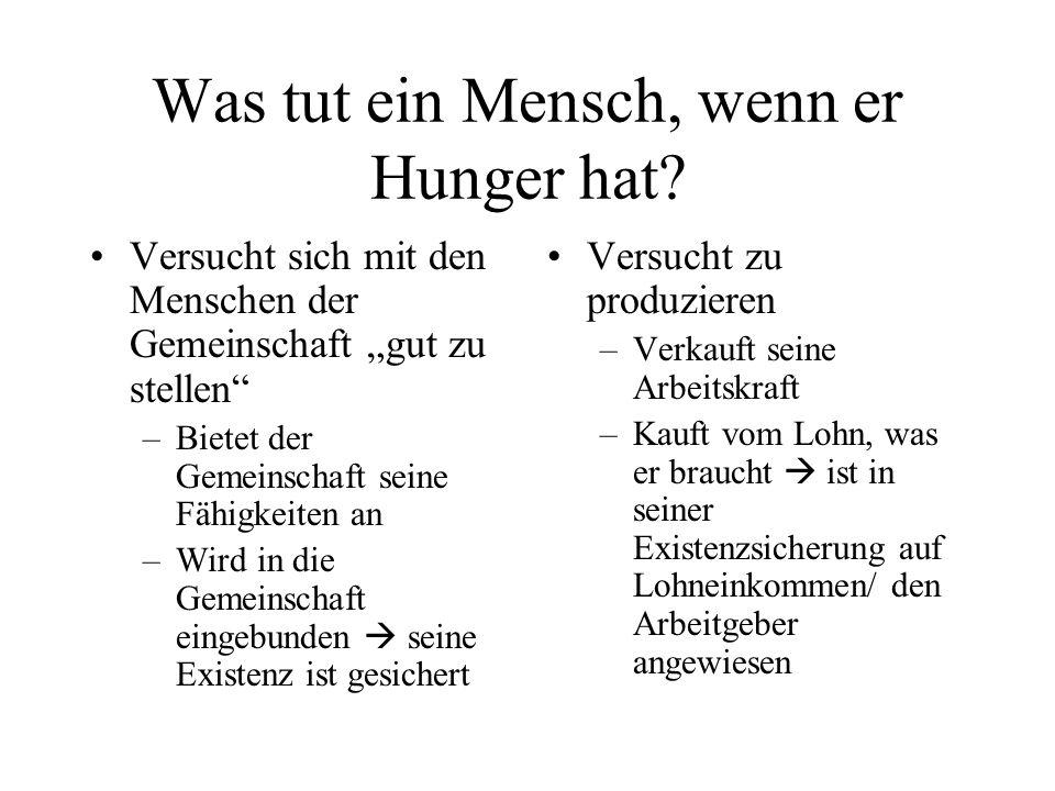 Was tut ein Mensch, wenn er Hunger hat