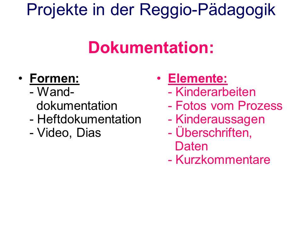Projekte in der Reggio-Pädagogik Dokumentation: