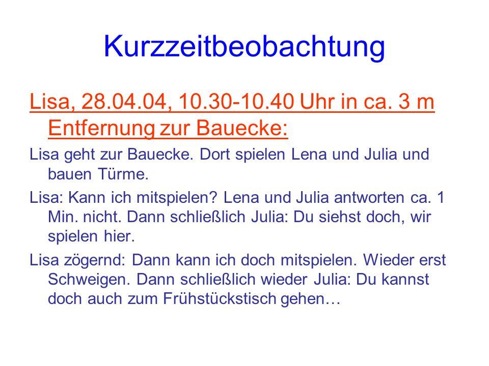 Kurzzeitbeobachtung Lisa, 28.04.04, 10.30-10.40 Uhr in ca. 3 m Entfernung zur Bauecke: