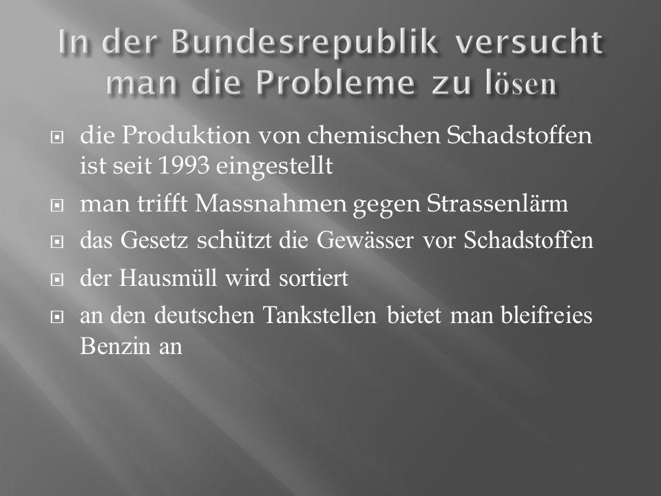 In der Bundesrepublik versucht man die Probleme zu lösen