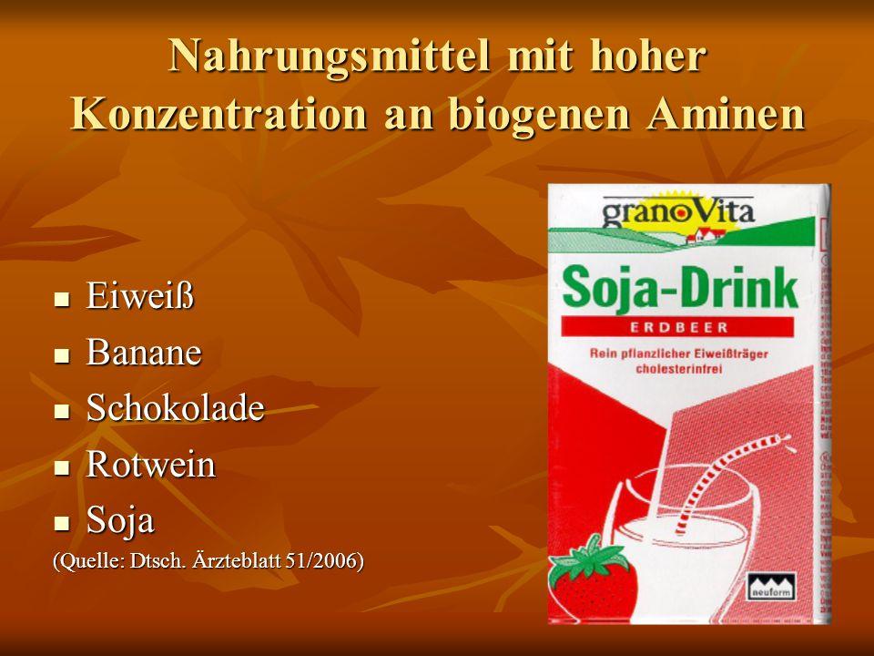 Nahrungsmittel mit hoher Konzentration an biogenen Aminen