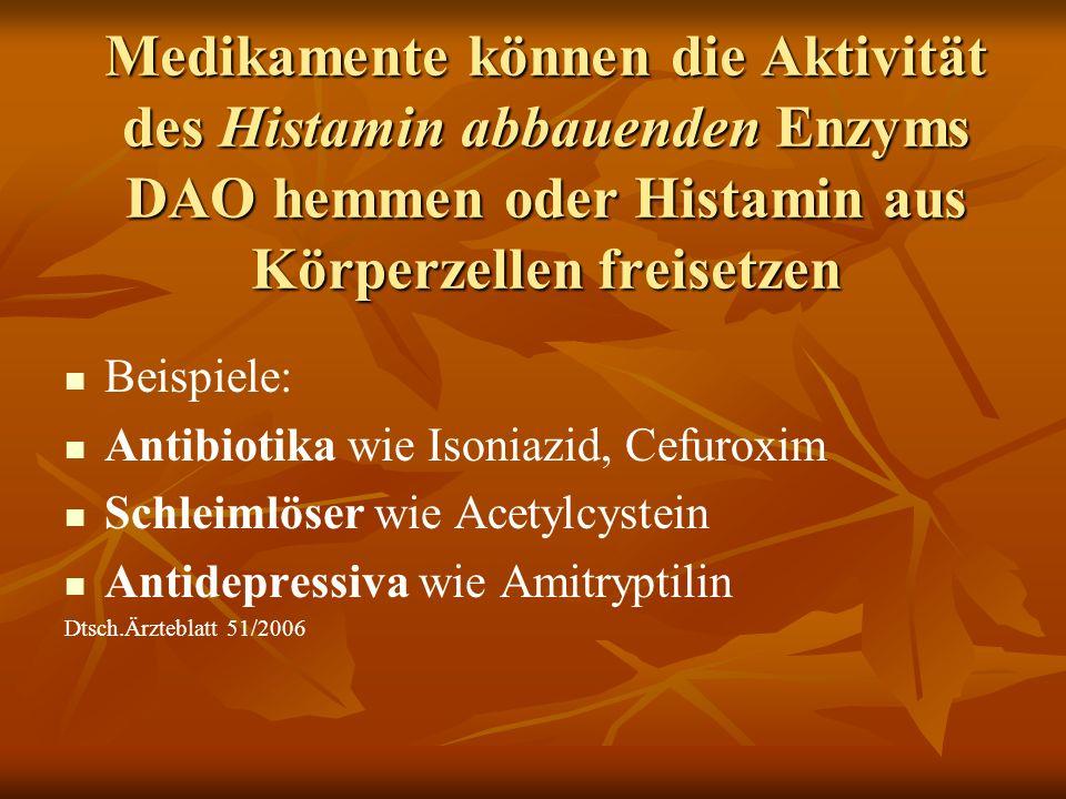 Medikamente können die Aktivität des Histamin abbauenden Enzyms DAO hemmen oder Histamin aus Körperzellen freisetzen