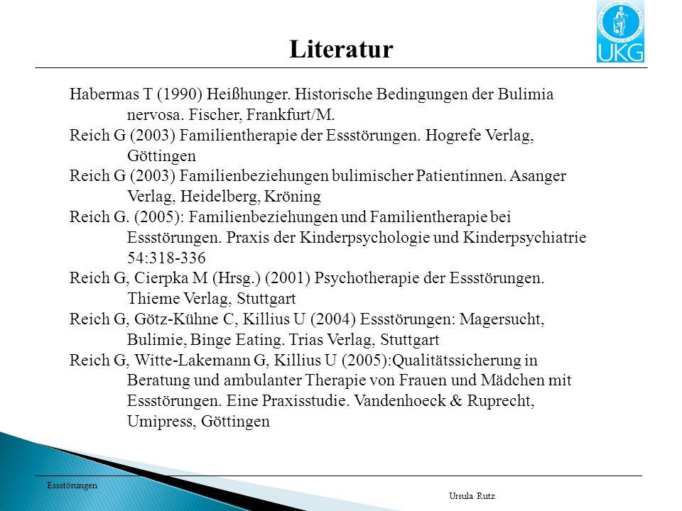 Literatur Habermas T (1990) Heißhunger. Historische Bedingungen der Bulimia nervosa. Fischer, Frankfurt/M.