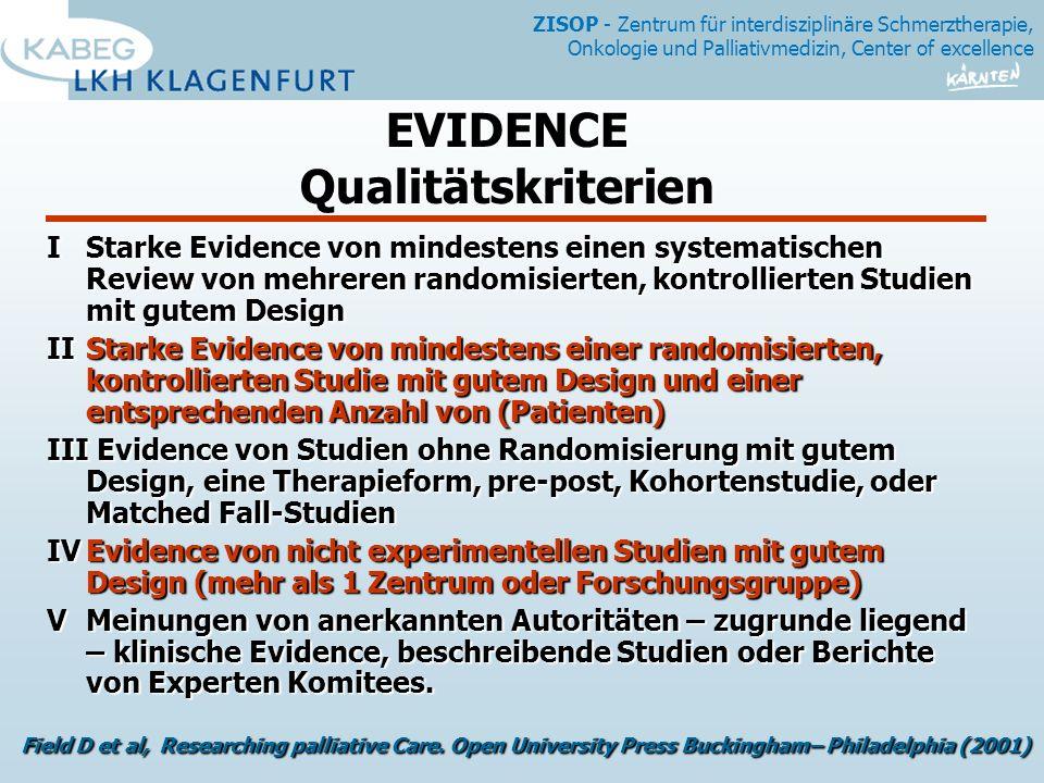 EVIDENCE Qualitätskriterien