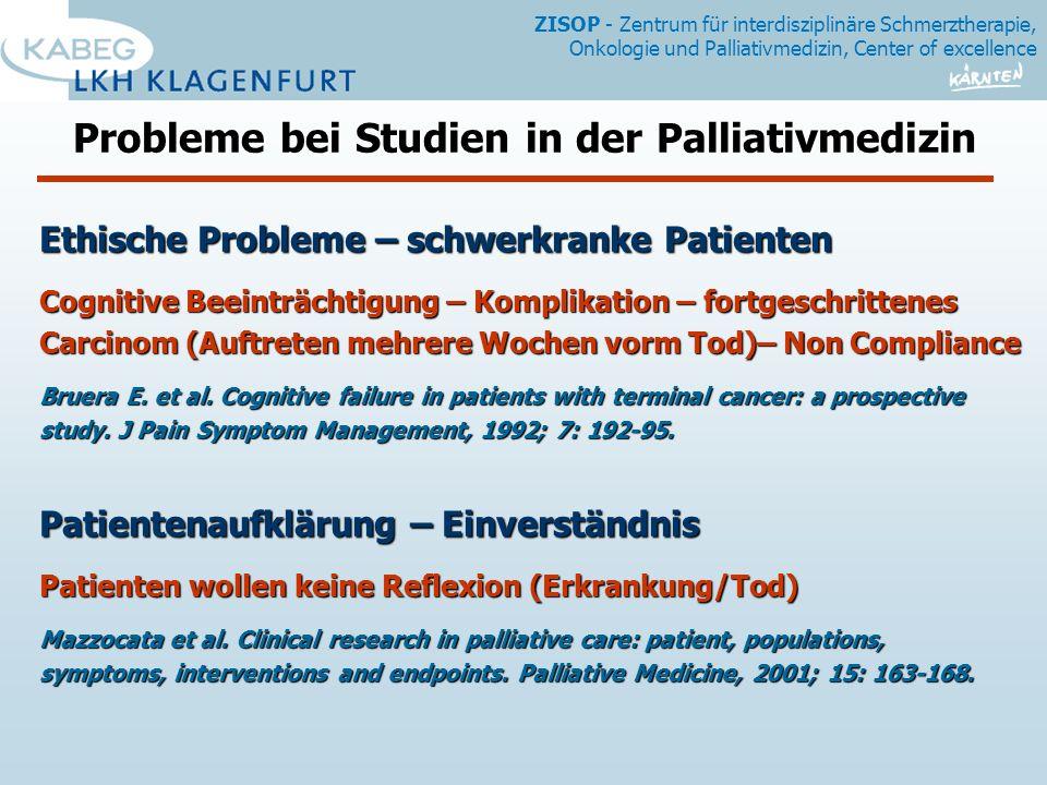 Probleme bei Studien in der Palliativmedizin