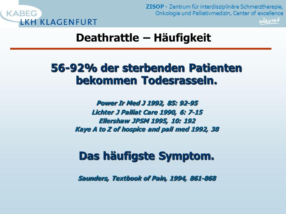 56-92% der sterbenden Patienten bekommen Todesrasseln.