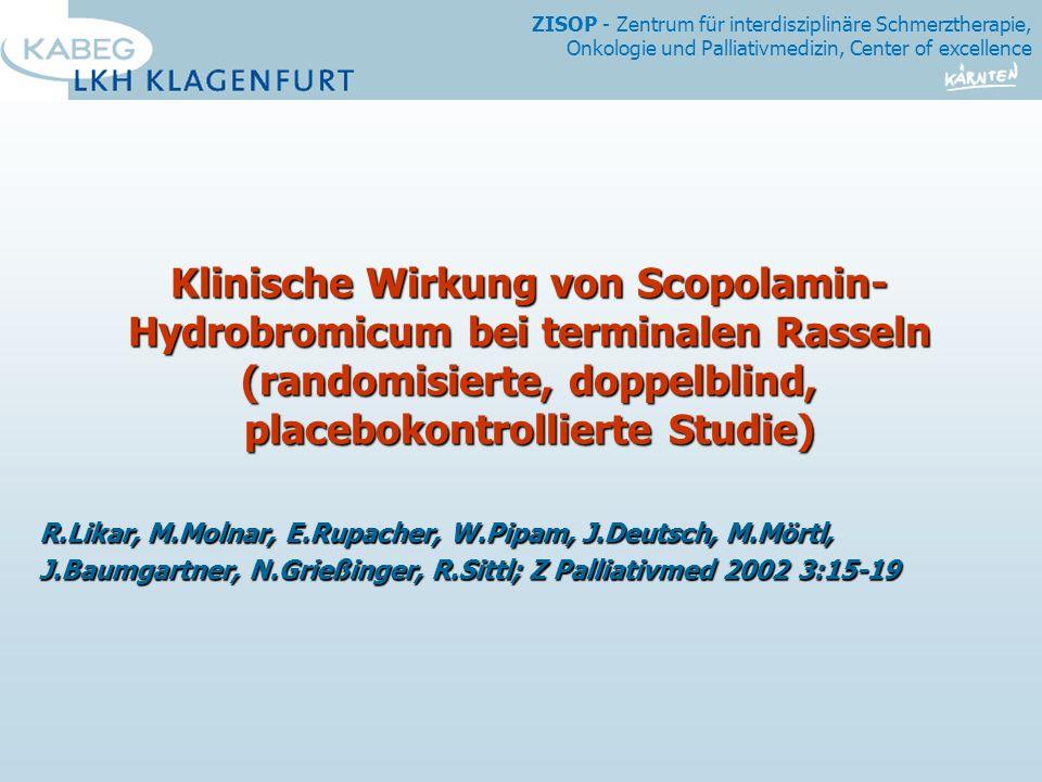 Klinische Wirkung von Scopolamin-Hydrobromicum bei terminalen Rasseln (randomisierte, doppelblind, placebokontrollierte Studie)