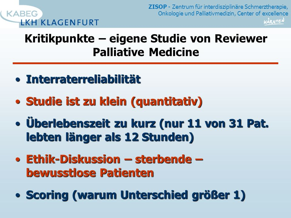 Kritikpunkte – eigene Studie von Reviewer Palliative Medicine