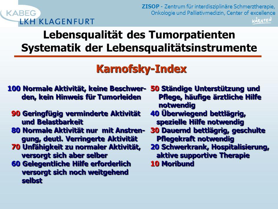 Lebensqualität des Tumorpatienten Systematik der Lebensqualitätsinstrumente