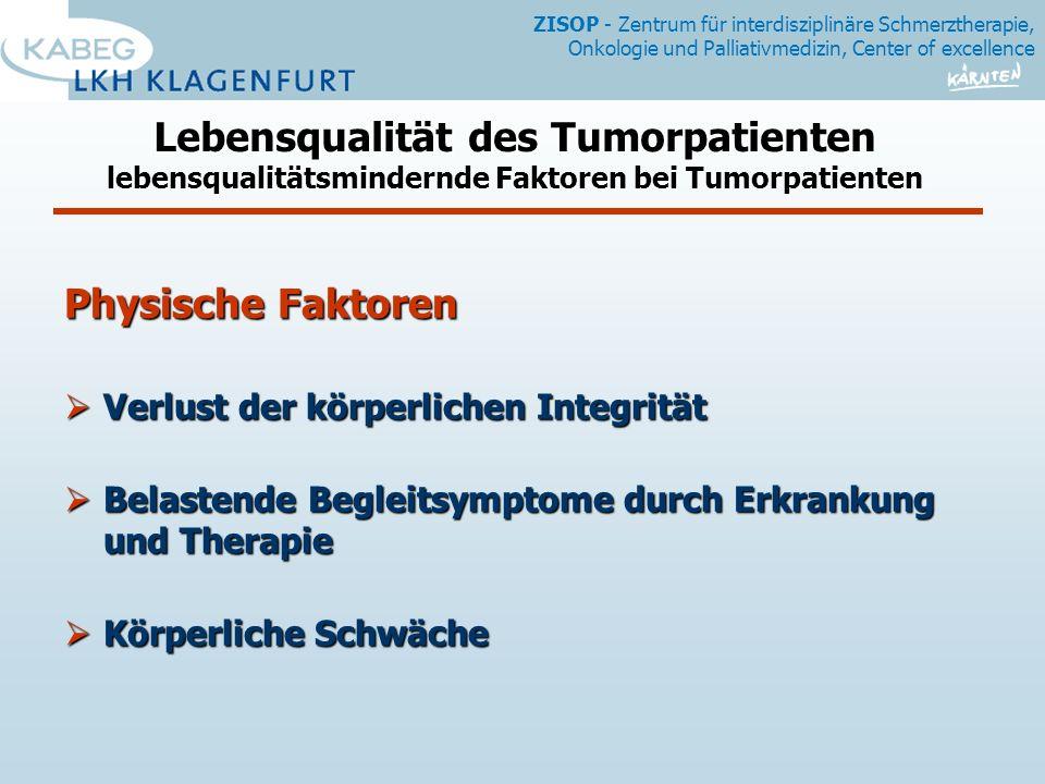 Lebensqualität des Tumorpatienten lebensqualitätsmindernde Faktoren bei Tumorpatienten