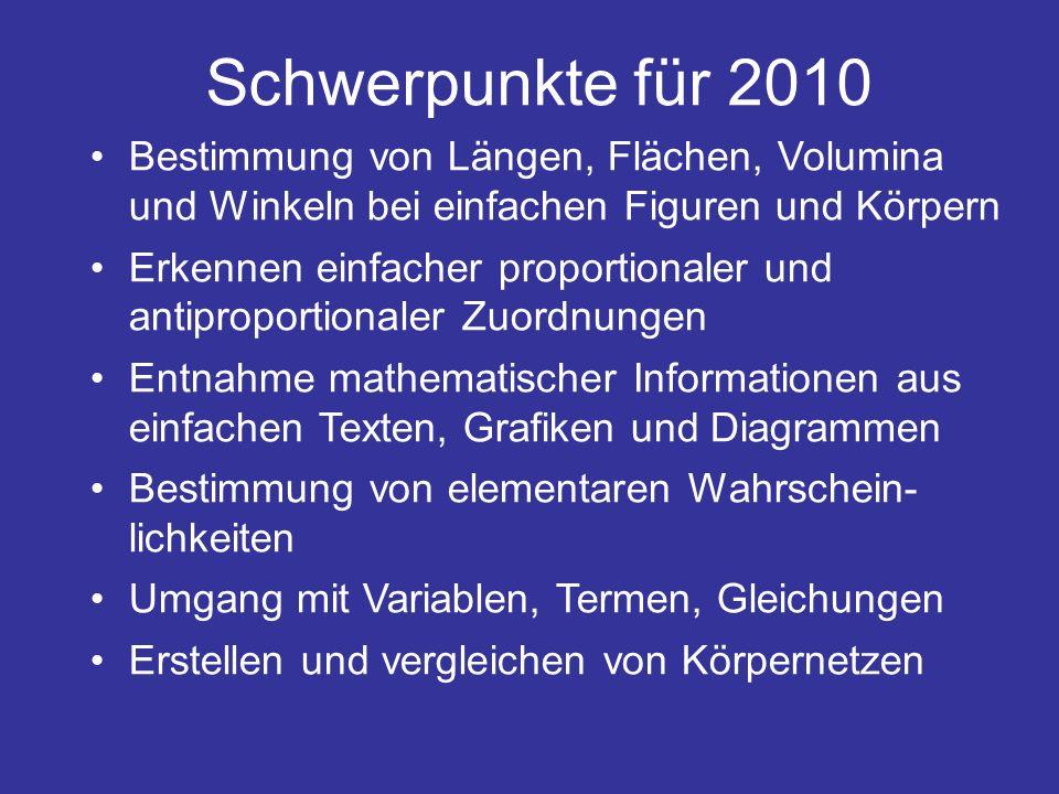 Schwerpunkte für 2010 Bestimmung von Längen, Flächen, Volumina und Winkeln bei einfachen Figuren und Körpern.