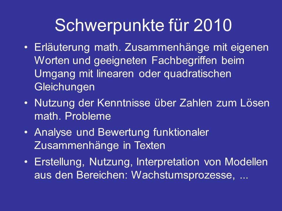 Schwerpunkte für 2010