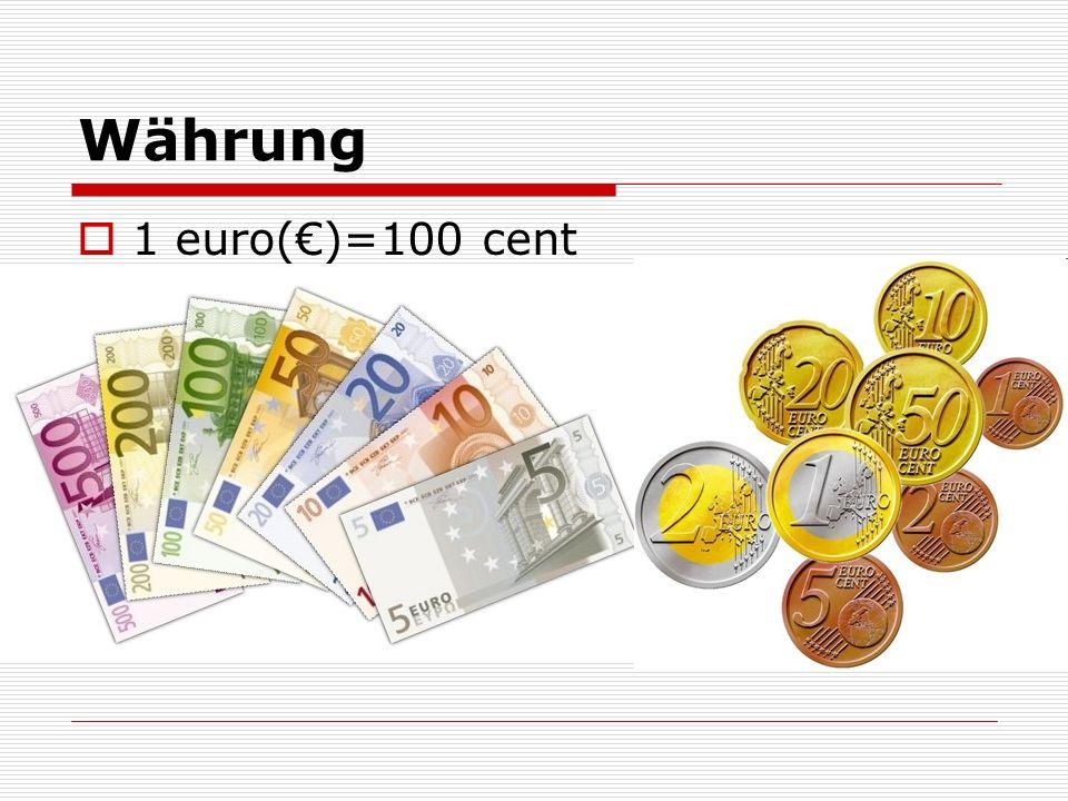 Währung 1 euro(€)=100 cent