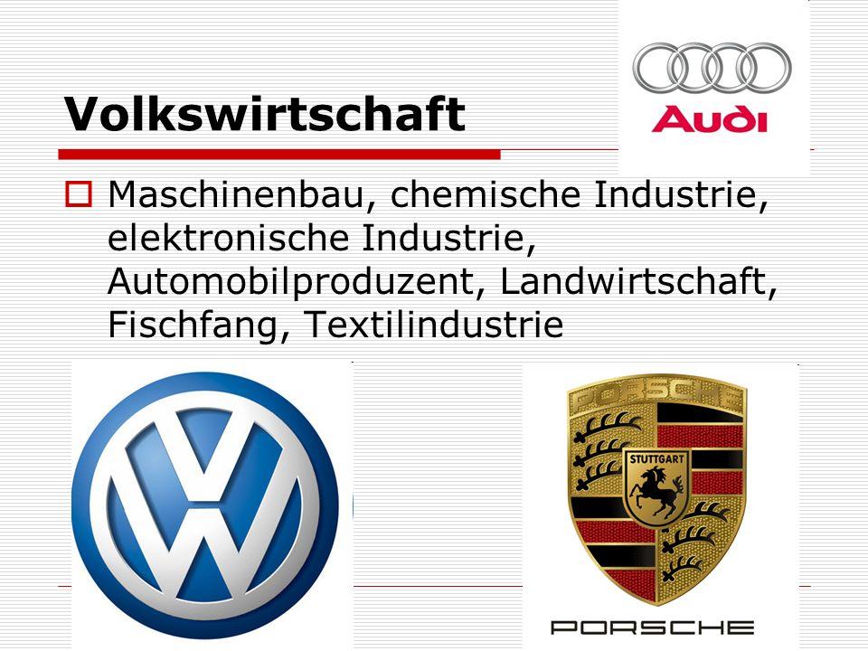 Volkswirtschaft Maschinenbau, chemische Industrie, elektronische Industrie, Automobilproduzent, Landwirtschaft, Fischfang, Textilindustrie.