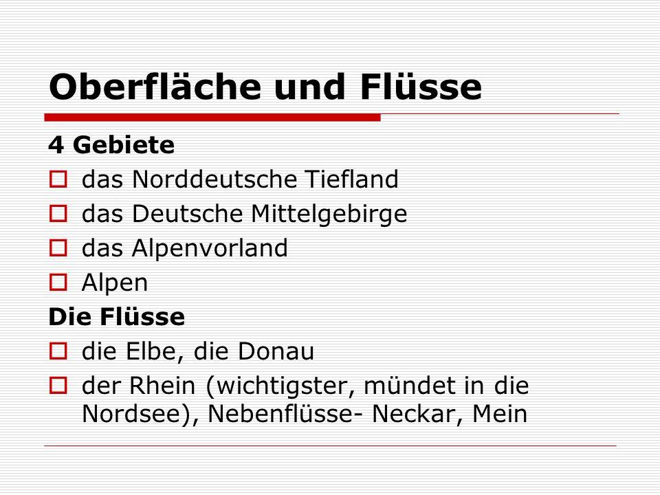 Oberfläche und Flüsse 4 Gebiete das Norddeutsche Tiefland