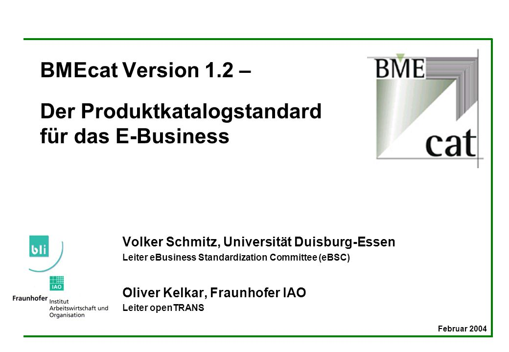 BMEcat Version 1.2 – Der Produktkatalogstandard für das E-Business